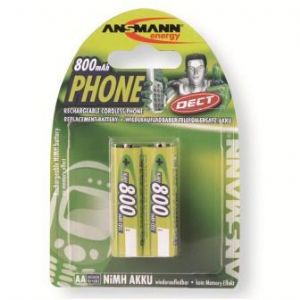 Ansmann AA Mignon 800 mAh Rechargeable DECT Cordless Phone Batteries (Card of 2)